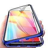 HülleLover Xiaomi Mi Note 10 Lite Hülle, Handyhülle für Xiaomi Mi Note 10 Lite Hülle Magnetic Adsorption, 360 Komplettschutz Schutzhülle Clear Doppelseitige Aus Gehärtetem Glas Metall Flip Hülle, Blau