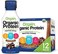 Orgain Organic 26g Grass Fed Whey Protein Shake, Creamy Chocolate - Meal Replacement, Ready to Drink, Low Net Carbs, No Sugar Added, Gluten Free, Non-GMO, 14 Ounce, 12 Count (Packaging May Vary)