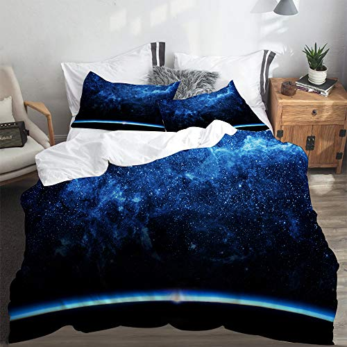 SUHETI Bedding Juego de Funda de Edredón,Tierra y Galaxia. Elementos de Esta Imagen proporcionada por la NASA,Microfibra Funda de Nórdico y Fundas de Almohada-(Cama 140 x 200cm)