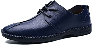 Sygjal Men's Fashion Oxford Casual Lightweight Soft Breathable Lace-up Formal Shoes Semi (Color : Blue, Size : 41 EU)