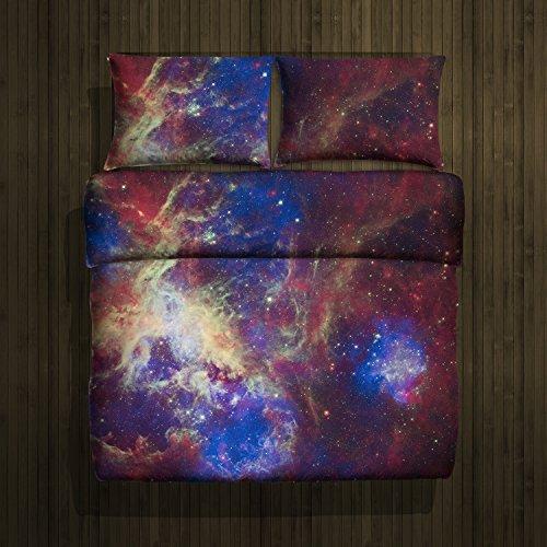 Bettwäsche, 2-teilig, Galaxis Nebel Stern Design - Deckenbezug (135x200 cm) und 1 Kissenbezug (80x80 cm) aus Microfaser - Sehr weicher Stoff - In Europa hergestellt - Oeko TEX Zertifiziert (Nebula 2)
