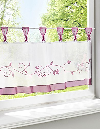 LivebyCare Floral Embroidered Window Curtain Tier and Valance Tab Top Rod Pocket Semi Sheer Window Treatment Voile Drape Drapery Panels for Family Room Decor Decorative