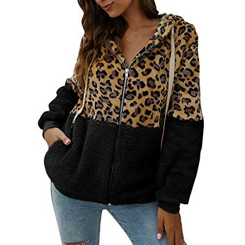 Lialbert Kapuzenpullover Damen Teddy-Fleece Mantel Winter Pullover Farbblock Hoodie Leopard Jacke Plüsch Sweatshirt Oversize Hooded Warm Outwear Plüschjacke mit Kapuze