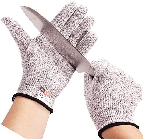 Fuaisi Schnittfeste Handschuhe – langlebige Sicherheits-Schneidehandschuhe für Küche, Fischfilet-Verarbeitung, Fleischschneiden, Holzschnitzerei (Größe M (Handflächenbreite 7,9–8,9 cm)
