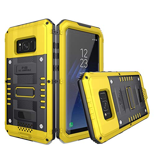 Galaxy S8 Plus Waterproof Case, Amever Aluminum Metal Heavy Duty with Built-in Screen Full Body Protective Shockproof Drop Proof Hybrid Cover Military Outdoor Sport for Samsung Galaxy S8 Plus (Yellow)