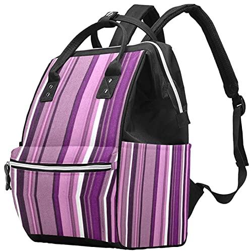 Yuelai Borsa per pannolini Zaino Zaino per laptop Zaino da viaggio per donna, Violet Stripes Purple Romantic