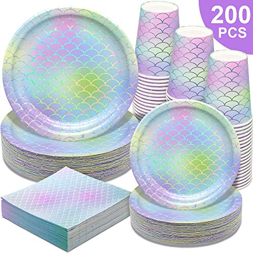Mermaid Party Supplies - 200PCS Party Paper Plates Disposable Paper Dinnerware Set,50 Dinner Plates Dessert Plates Cups Napkins for Girl's Birthday Baby Shower Wedding Hawaii Ocean Cocktail Party