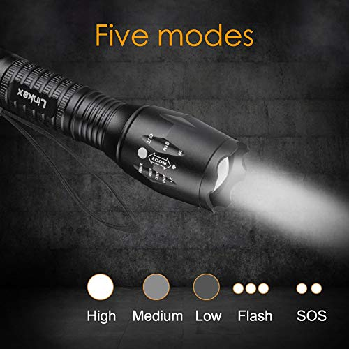 Linkax LED Torch LED Flashlight Adjustable Focus Handheld Flashlight Super Bright 800 Lumens Pocket Torch Zoomable and Waterproof Camping Outdoor Torch 3 x AAA Batteries Included