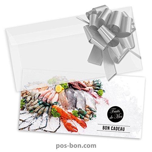 50 Bons cadeaux + 50 enveloppes + 50 noeuds rubans pour poissonneries, fruits de mer FK9201F