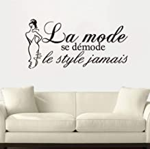 Smydp French Quotes Vinyl Wall Stickers Decals Art Wallpaper for Living Room Home Decor House Decoration41X84Cm