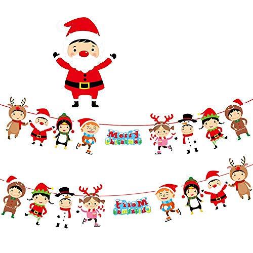 CWENROU Weihnachten Hängende Banner,Cartoon Ornamente Hängende Fahne Santa Claus...