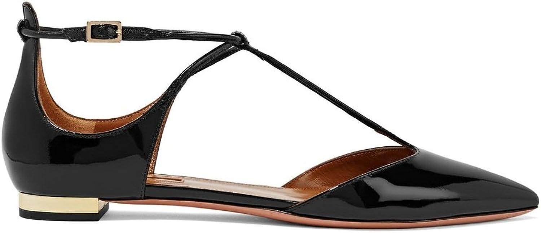 Zandina Women's Fashion J-Strap Two-Piece Pointy Wedding Party Flat Pumps shoes