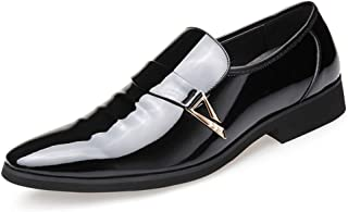 2019 Mens New Lace-up Flats Men's Casual Simple Metal Decoration Low Top Patent Leather Formal Shoes Fashion Oxford