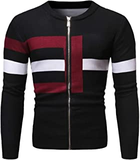 eipogp Men's Casual Slim Fit Knitted Sweaters Jacket Color Block Knit Jumper Coat Full Zipper Crewneck Ribbed Outwear