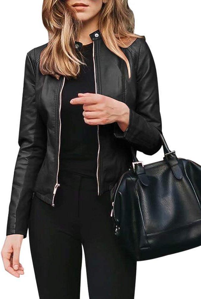 JURIS Women's Fashion Faux Leather Jackets Solid Color Zip Up Slim Short PU Coat