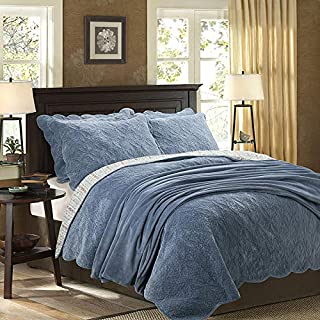 YAYIDAY Cotton & Velvet Bedspread Quilt Sets Queen Size - Flannel Fall Autumn Blanket Reversible Solid Floral Quilted with Pillow Shams, Modern Stitched Coverlet (Blue Queen)