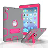 iPad 2/3/4 Case, Dooge Three Layers PC&Silicon Armor Defender Heavy Duty Shock-Absorption Rugged Hybrid Full Body Protective Case with Kickstand for Apple iPad 2/iPad 3/iPad 4