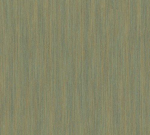 A.S. Création Vliestapete Siena Tapete Unitapete Vintage Optik 10,05 m x 0,53 m grün metallic Made in Germany 328821 32882-1