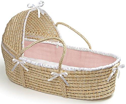 Badger Basket Hooded Moses Basket with Pink Waffle Bedding