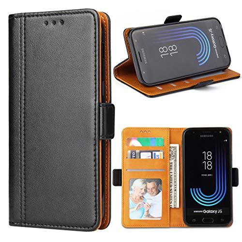 Bozon Galaxy J5 2017 Hülle, Leder Tasche Handyhülle für Samsung Galaxy J5 Duos (2017) Schutzhülle mit Ständer & Kartenfächer/Magnetverschluss (Schwarz)
