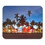 Alfombrillas de ratón Miami Beach Florida Hotels and Restaurants at Sunset on Ocean Drive World Famous Destination for It Mouse Pad Mats 9.5' x 7.9' for Notebooks,Desktop Computers Office Supplies