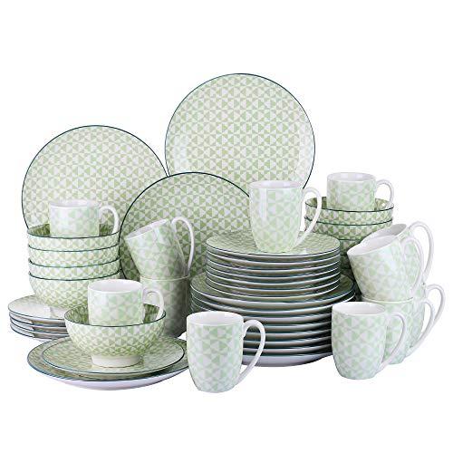 vancasso, série Midori, Service de Table, 48 pièces pour 12 Personnes, en Porcelaine, Style Japonais