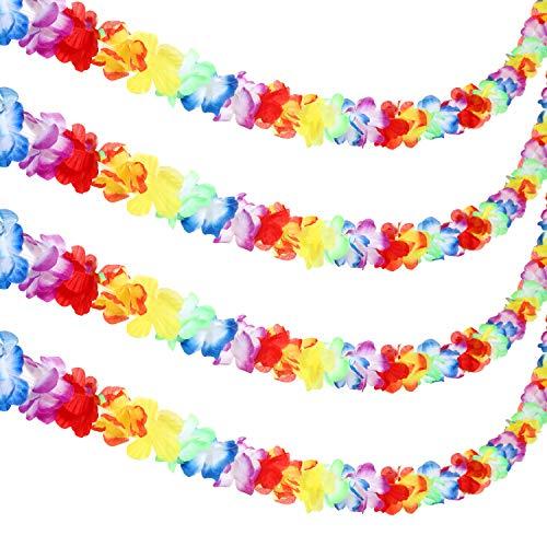 Jovitec 4 Pezzi 20 Piedi Multicolore Ghirlanda di Fiori Tropicali Lei Bandiera di Foglie per Decorazioni Hawaiane Luau