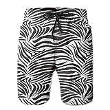 N/O Bañador para Hombre Shorts de Playa de Secado rápido con Estampado 3D y Forro de Malla,Striped Zebra Animal Print Nature Wildlife Inspired Simplistic Illustration