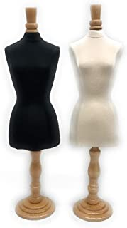 Roxy Display Mini Female Jewelry Mannequin Body Form – Mini Dress Form with Maple Wooden Base and Neck Top (Combo)