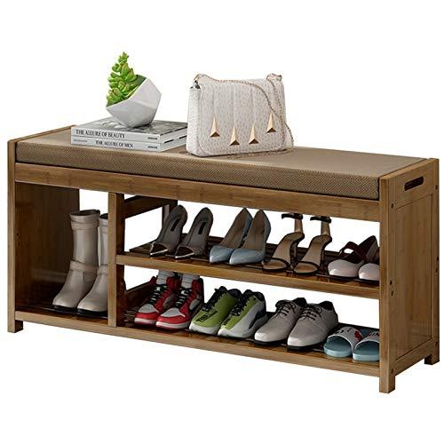 WHOJA Zapatero Simplicidad Moderna con cojín Banco de Zapatos de Madera Maciza Estante de Almacenamiento de 2 Capas Armario Multifuncional Estantería (Size : 102x29x46cm)