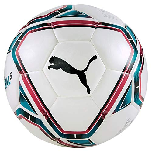 Puma teamFINAL 215 Hybrid Ball Ballon De Foot Mixte Adulte, White-Rose Red-Ocean Depths Black, 5
