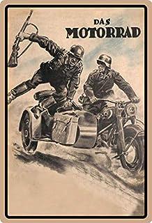 rilevatore di movimento Targa in metallo 20 x 30 cm bombata la moto soldato tedesco