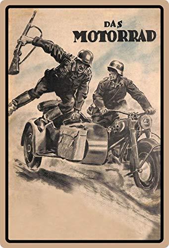 Blechschild 20x30cm gewölbt Das Motorrad Deutsche Soldaten Kradmelder Wehrmacht Deko Geschenk Schild