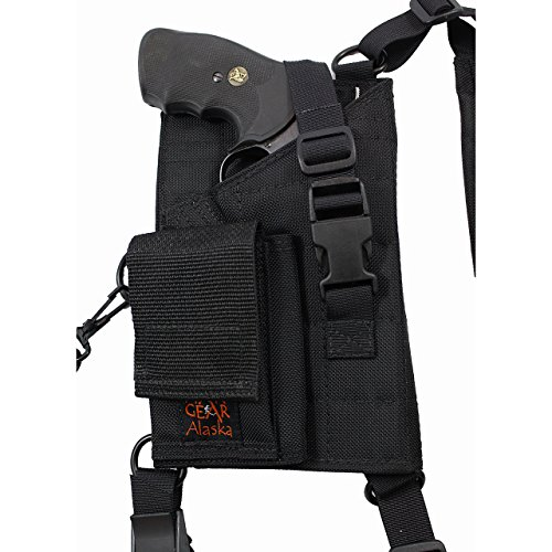 Man Gear Alaska Ultimate Chest Holster - Taurus Judge and S&W Governor w/Cartridge Loops and Pouch (Right Hand)