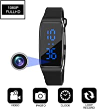 Aipinvip Hidden Camera HD 1080P Camera Recording Loop Recording time Display Sports Bracelet Shielded Surveillance DVR Wristband Camera (Not Included TF Card)