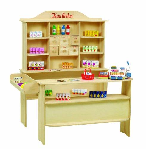 roba Marchande, grande marchande pour les enfants en bois naturel, marchande avec 6 tiroirs en bois, avec comptoir antérieur et latéral, accessoires pour marchande référence 9714 inclus.