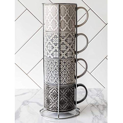 OverandBack 5-Piece Stacking Stoneware Mugs with Rack Set (Gray)