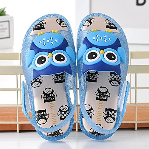 LIKEJJ Sandalias Infantiles Owl Owl LED Flash Girls Sandalias Jelly Boys Sandalias-Azul_24EU