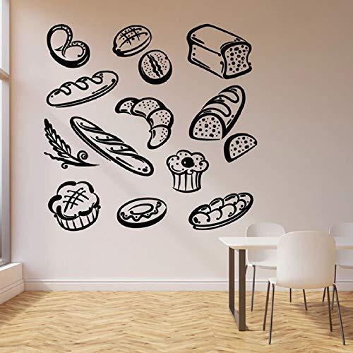 Pan pastelería etiqueta de la pared producto de panadería postre cocina restaurante interior mural 42 * 43 cm