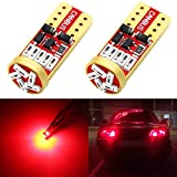 Phinlion 194 LED Red Super Bright Wedge 168 2825 175 T10 15-SMD 4014 Chipsets LED Replacement Bulbs for Car Side Marker Dome Map Reading Courtesy Tail License Plate Lights