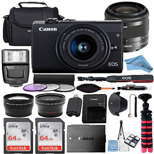 Canon EOS M200 Mirrorless Digital Camera 24.1MP Sensor w/EF-M 15-45mm f/3.5-6.3 is STM Lens + 2 Pcs SanDisk 64GB Memory Card + Bag + Flash + Tripod + Accessory Bundle (Black) (64GB)