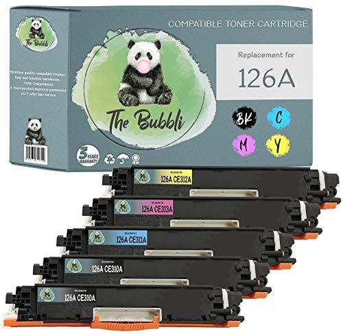 The Bubbli Original | 126A 126 A Tóner Compatible para HP Laserjet Pro CP1025 CP1025nw CP1020 100 MFP M175a M175nw 200 MFP M275a M275nw TopShot Laserjet M275 (5-Pack)
