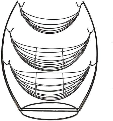 HSJ Soporte de Swing de 3 Capas y Soporte de Rack de Rack de Rack de tazón de Vegetal, Canasta de Frutas metálicas de encimera para almacenar Manzanas crujientes Conveniencia