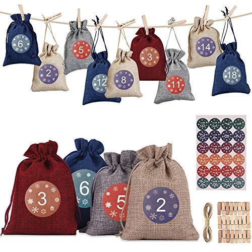Adventskalender zum Befüllen,Jutesäckchen Adventskalender,Weihnachten Geschenktüten,Geschenktüten Weihnachten mit individuellen Designs,mit 24 Nummern Aufklebern,24 Holzklammern und 10 Metern Seil