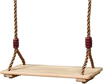 VWMYQ Premium Wood Hanging Swing Seat Wooden Swing Set Chair 2 Strengthen Straps Adjustable Rope for Kids Outdoor Swing Rope