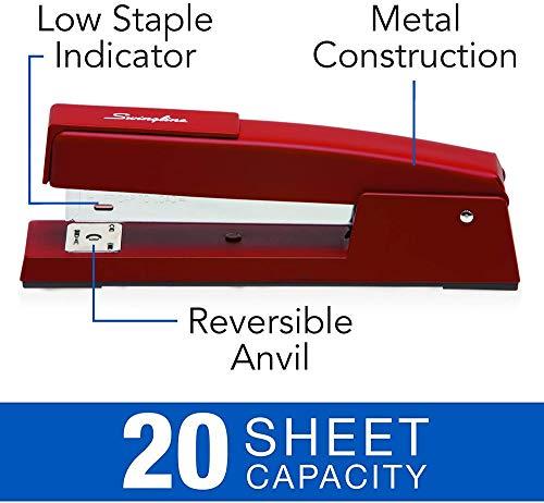 Swingline Stapler, 747 Classic Desktop Stapler, 20 Sheet Capacity, Metal, Lipstick Red (74718) Photo #4