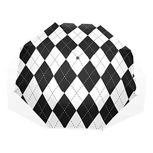 Trushop Automatischer Regenschirm Diamond Shapes Windproof Travel Umbrella Compact Folding Umbrella