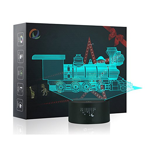 Train 3D Illusion Lamp, Yunplus 7 Changing Colors Touch Switch LED Night Light Table Desk Lamps for Baby Children Bedroom Decoration Perfect Birthday Christmas Gift