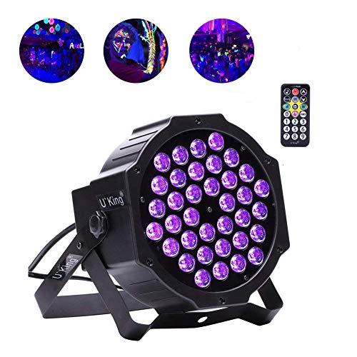 U`King Lampe UV noire 72 W 36 LED par télécommande et DMX contrôlée par télécommande, idéale pour les soirées, les discothèques, les spectacles 1 pack uv black light