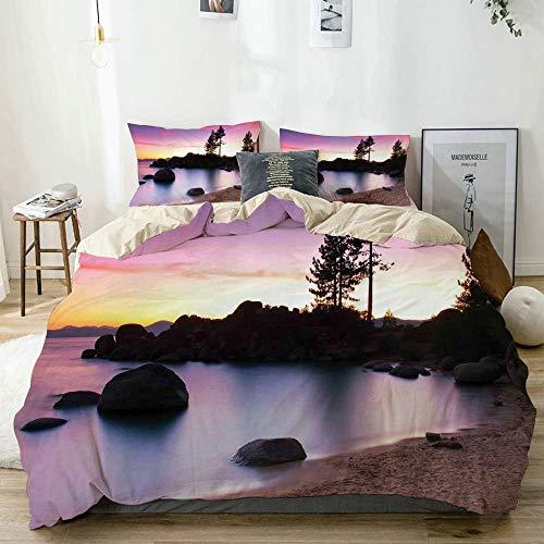 Juego de funda nórdica beige, paisaje de playa de arena dorada de The River Fairy Sky Relax Simple Life Art Photo decorativa púrpura crema, juego de cama decorativo de 3 piezas con 2 fundas de almohad
